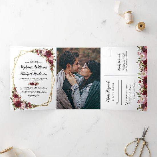 Burgundy Floral Photo All in One Wedding Tri-Fold Invitation