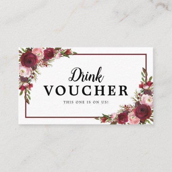 Burgundy Floral Wedding Free Drink Voucher Business Card