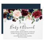 Burgundy Flowers Baby & Brunch Baby Shower invite
