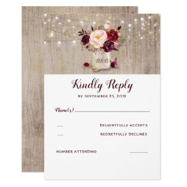 Burgundy Flowers Rustic RSVP Card