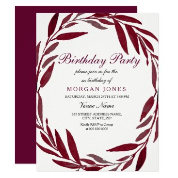 Burgundy Leaf Wreath Adult Birthday Party Invite