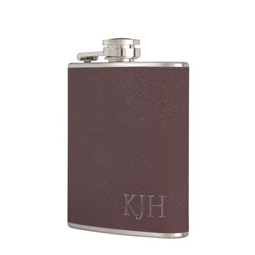 Burgundy Leather with Monogram Hip Flask