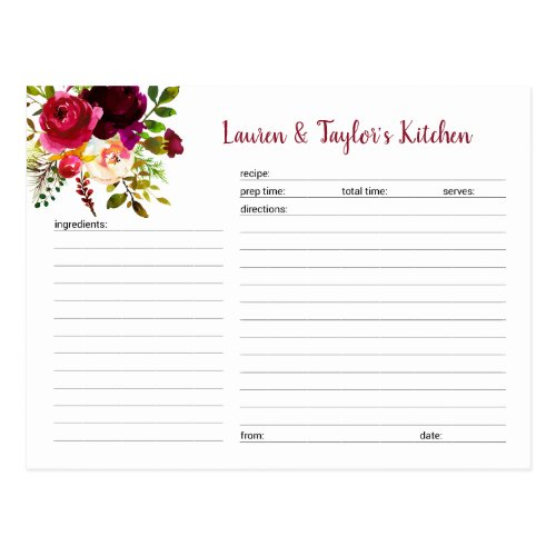 Burgundy Marsala floral bridal shower recipe card
