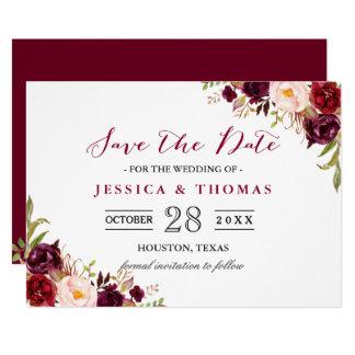 Burgundy Marsala Fl Chic Wedding Save The Date Card