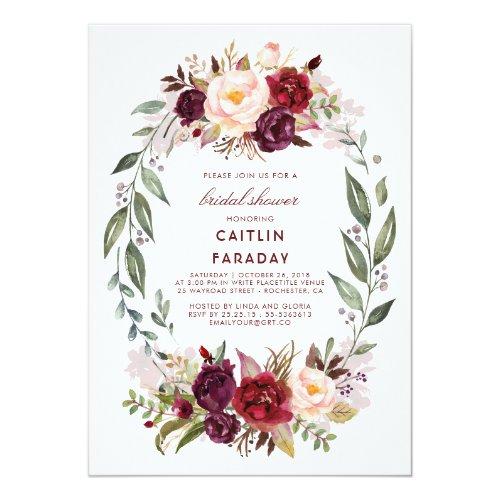 Burgundy - Marsala Floral Wreath Bridal Shower Invitation