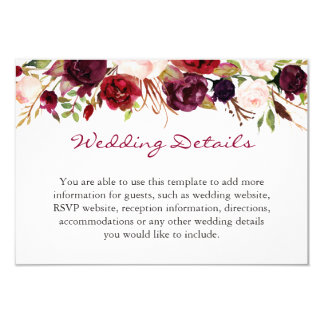 Burgundy Marsala Red Fl Wedding Details Info Card