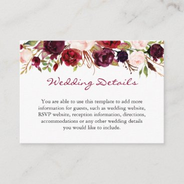 Burgundy Marsala Red Floral Wedding Details Insert