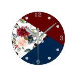 Burgundy Navy Bloom | Boho Floral Geometric Round Clock