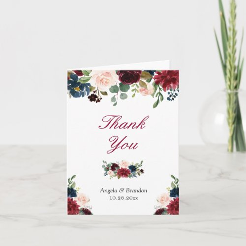 Burgundy Red Blush Blue Floral Thank You