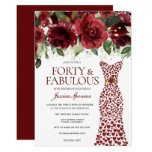 Burgundy Red Dress Forty & Fabulous 40th Birthday Invitation