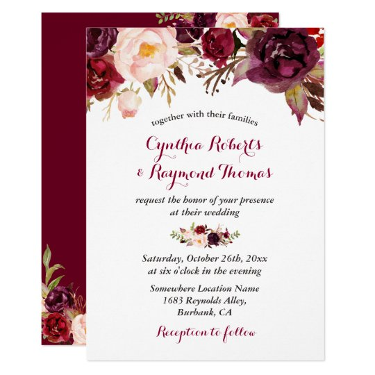 Roses And Baby S Breath Wreath Vintage Wedding Invitations