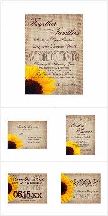 Burlap and Sunflower Wedding Invitation Set