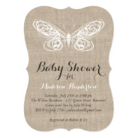Burlap Butterfly Baby Shower Invitation