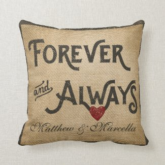 Burlap Forever Always Heart Personalized Pillow
