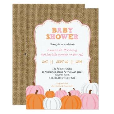Burlap Girl Orange Pumpkin baby shower invitation