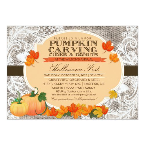 Burlap & Lace Fall Pumpkin Carving Halloween Party Invitation