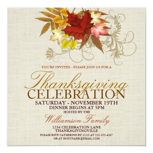 Burlap & Leaves Thanksgiving Dinner Invitation