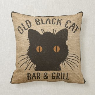 Burlap Old Black CAt Bar and Grill Throw Pillows