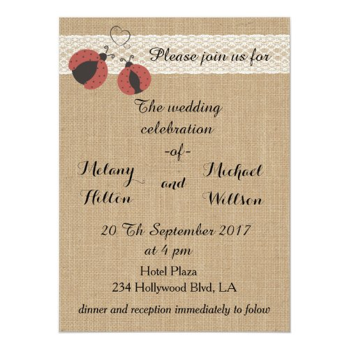 Burlap rustic romantic ladybugs wedding card