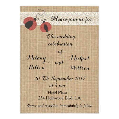 Burlap rustic romantic ladybugs wedding card