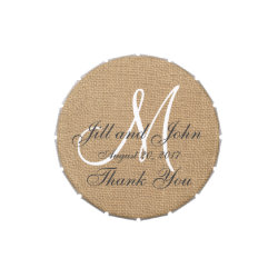 Burlap Wedding Monogram Names Date Jelly Belly Candy Tins