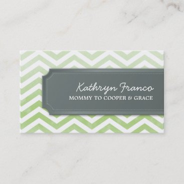 BUSINESS CARD cool chevron stripe green watercolor