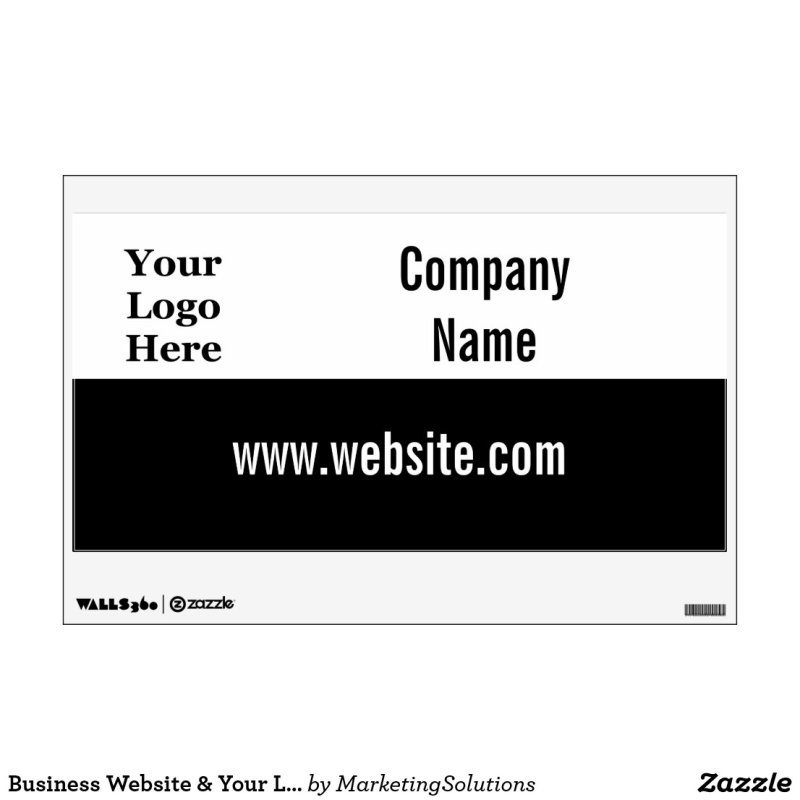 Business Website & Your Logo Here Template Wall Decal
