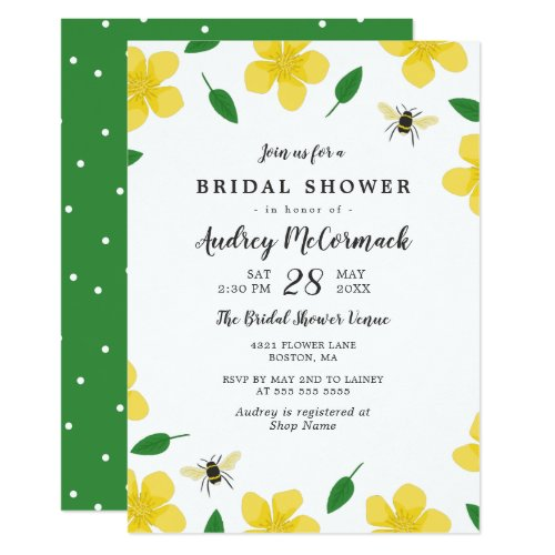 Buttercups & Bees - Floral Bridal Shower Invitation