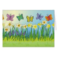 Butterflies & Daffodils Card