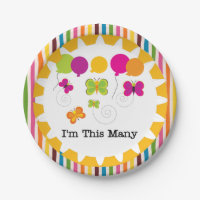 Butterflies I'm This Many 5th Birthday Paper Plate