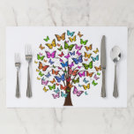 BUTTERFLIES TREE.  BEAUTIFUL TREE WITH BUTTERFLIES PAPER PLACEMAT