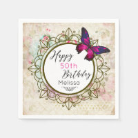 Butterfly on a Shabby Vintage Collage Birthday Paper Napkin