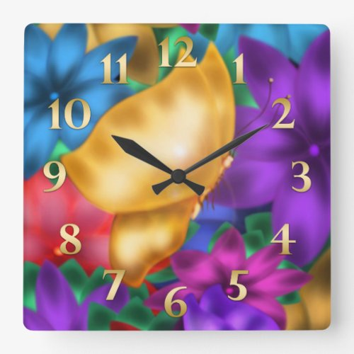 Butterfly Paradise Square Wall Clock