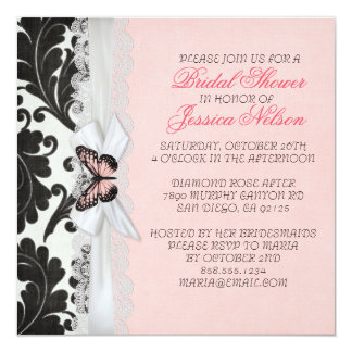 Butterfly Ribbon Black Damask Bridal Shower Invitation