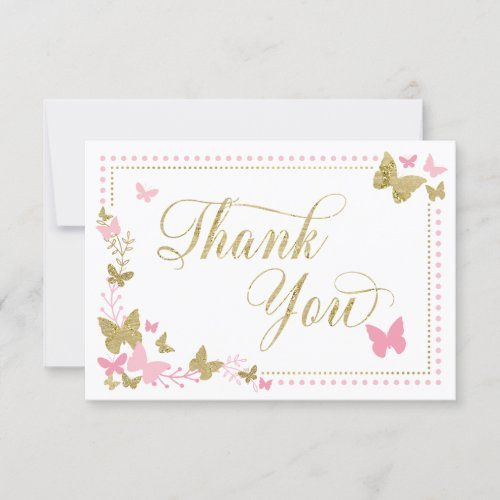 Butterfly Thank You Card, Pink, Faux Gold