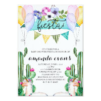 Cactus and Llama Baby Shower Fiesta Invitation