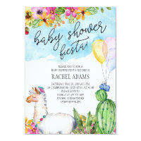 Cactus and Llama Baby Shower Fiesta Invitation