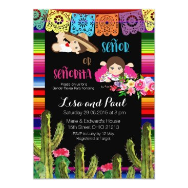 Cactus Mexican Gender Reveal Baby Shower Invite