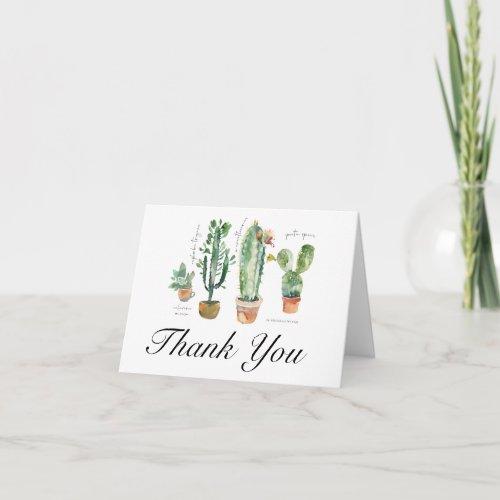 Cactus Plants Succulents Thank You Card
