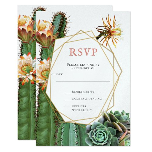 Cactus Succulent Greenery Wedding RSVP Invitation