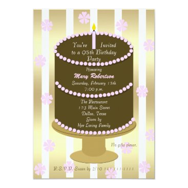 Cake 95th Birthday Party Invitation 95th in Pink