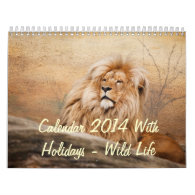 Calendar 2014 With Holidays - Wild Life