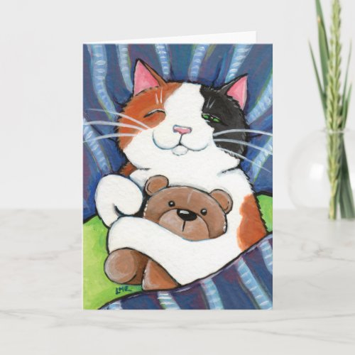 Calico Cat and Teddy Bear | Cat Art Greeting Card