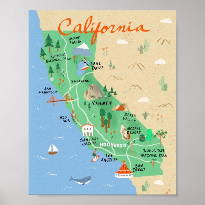 california map poster zazzle com