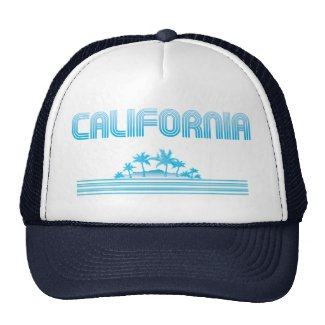 California Neon Palm Trees AQUA Trucker Hat