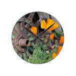 California Poppies Round Clock