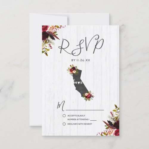 California State Destination Rustic Wedding RSVP