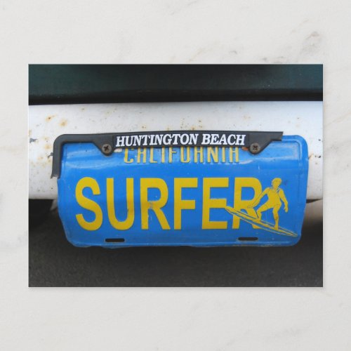 California Surfer License Plate postcard
