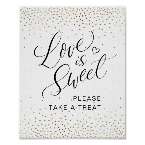 """Calligraphy """"Love is Sweet"""" Please Take a Treat Poster"""