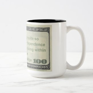 Calvin Coolidge quote mug Living within your means